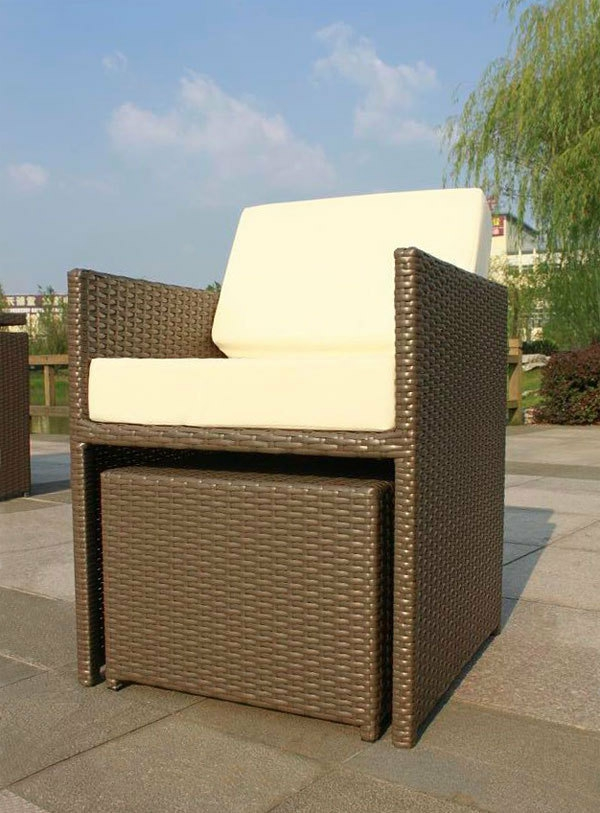 Coole ideen f r einen polyrattan hocker for Roter sessel mit hocker