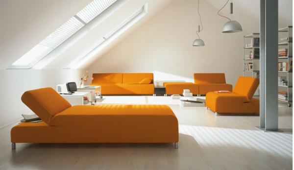 Sofabetten-in-Orange-Idee
