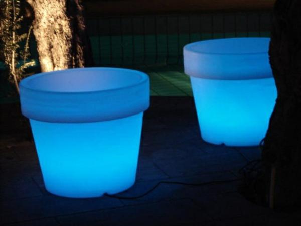 Solar-Blumentöpfe-Blau-Idee