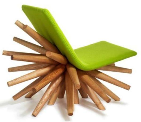 Stuhl-design-Grün-Holz-Idee
