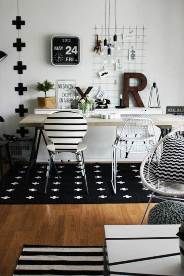 Teppich -Schwarz-und-Weiß