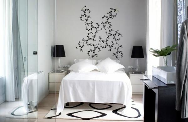Teppich-Weiß-und-Schwarz-Schlafzimmer