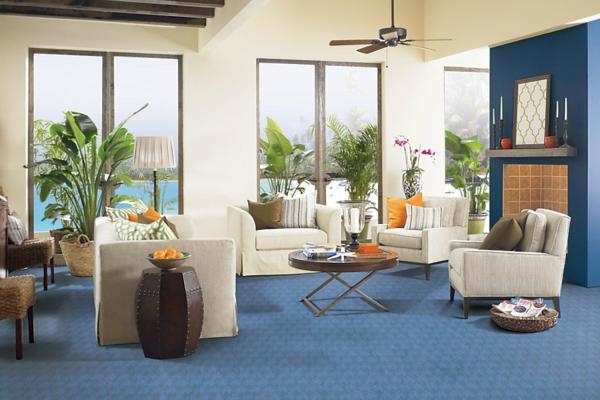 Wohnzimmer Blauer Teppich - Design