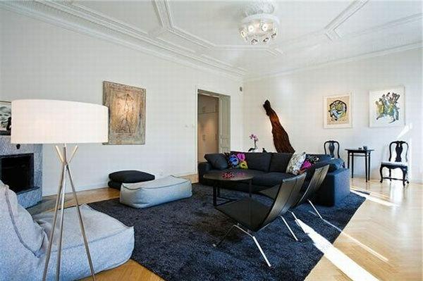Teppich-in-Dunkelblau-Design-Idee-Wohnzimmer