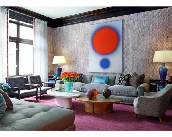 Rosa Wohnzimmer Teppich In Farbe Wohnzimmerdesign