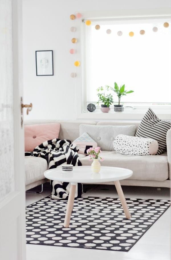 wohnzimmer teppich schwarz weis haus design ideen
