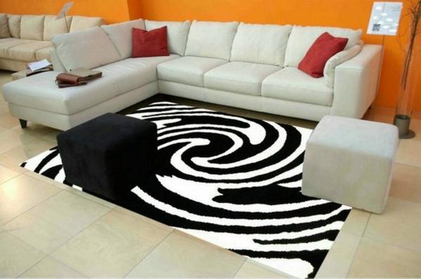 Teppich-in-Schwarz-Weiß