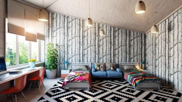Teppich-in-Schwarz-und-Weiß-geometrische-Motive