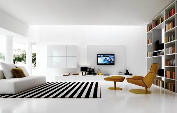 toller-Teppich-in-Weiß-und-Schwarz-Wohnzimmer