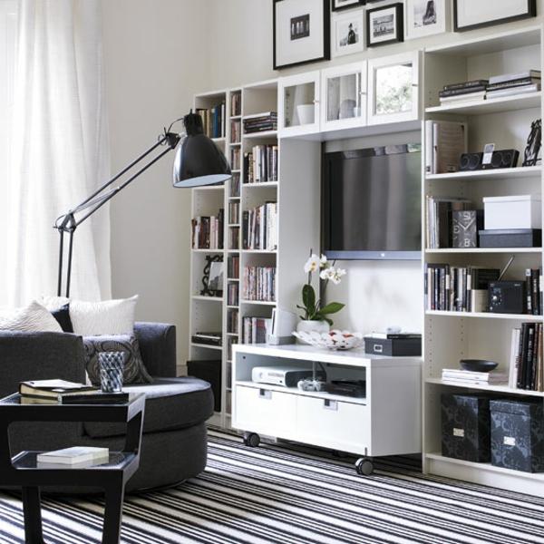 teppich schwarz wei gestreift madam stoltz teppich. Black Bedroom Furniture Sets. Home Design Ideas