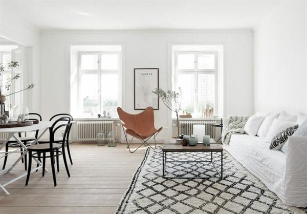 -Teppich-in-Weiß-und-Schwarz-Wohnzimmergestaltung