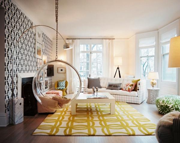 Teppich-in-gelber-Farbe-im-Wohnzimmer-kreatives-Design
