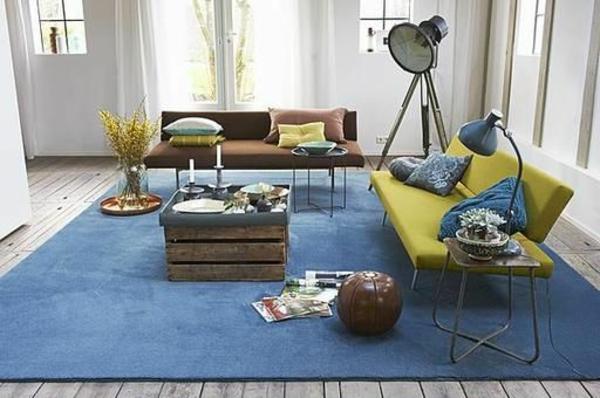 Teppiche-in-Blau-für-das-Wohnzimmer-Design-Idee