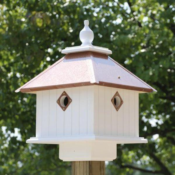 Vogel-Futterhäuser-aus-Holz-weiße-Farbe-Idee