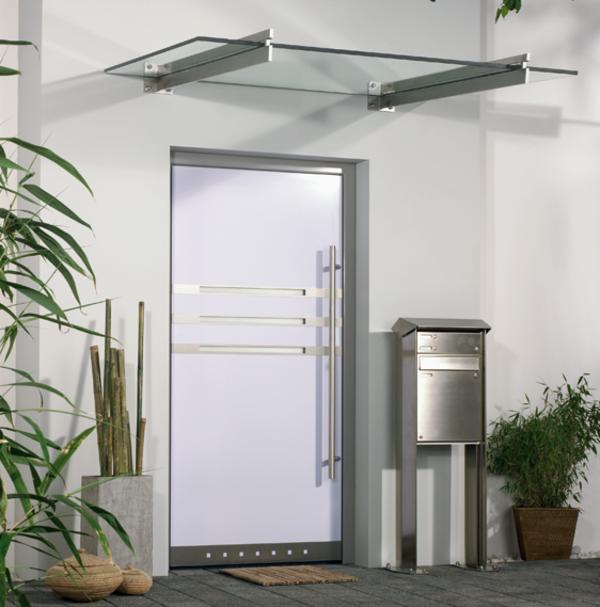 Vordach-Glas-Eingangstür-Design