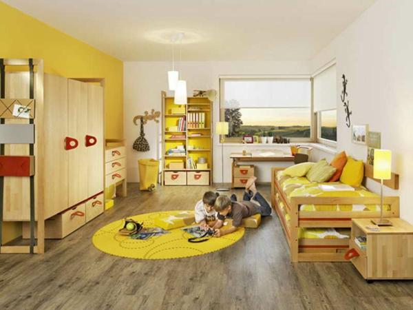 gelbes-Kinderzimmer-Design-Holzboden-Teppich