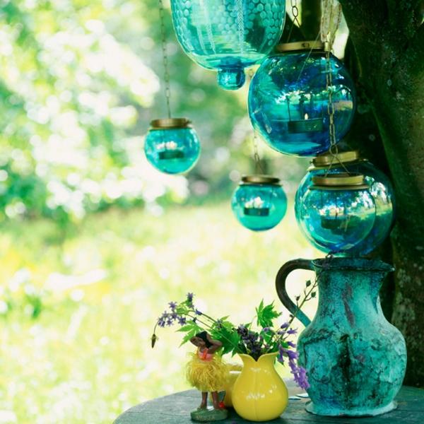 Wundersch ne bunte gartendeko for Bunte lampenschirme aus glas