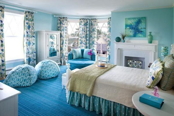 Blauer Teppich Im Schlafzimmer Design Ideen