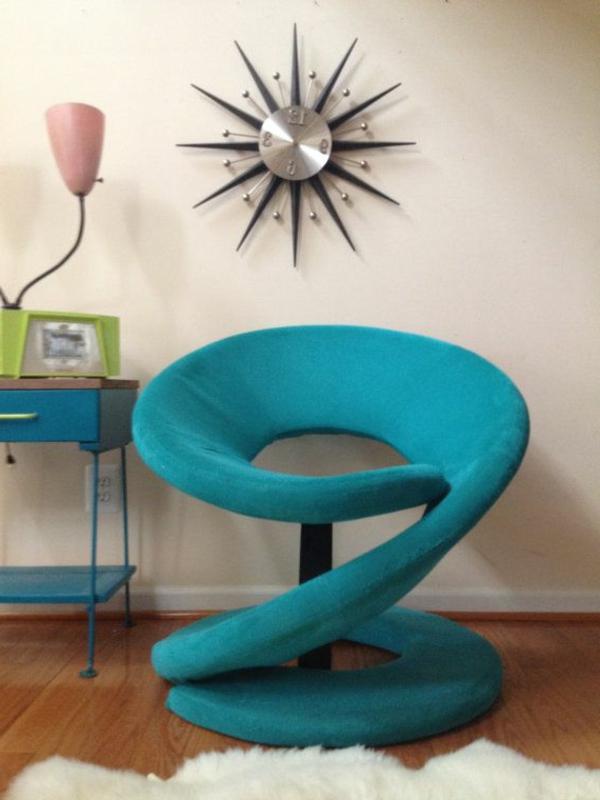 blaugrüner-Stuhl-designer-Idee