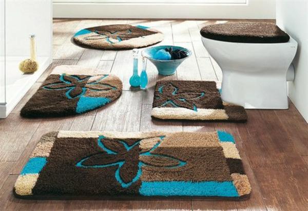 coole-Badteppiche-für-Badezimmer-Braun-und-Blau