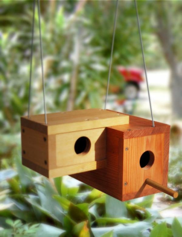 doppelte-Vogel-Häuser-Design-Holz