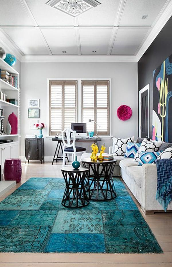effektvoller-Teppich-in-Blau-Design-Idee-blaue-Teppiche