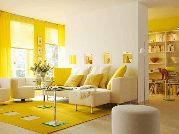 wohnzimmer hellgelb:einrichtungsideen-gelb-wohnzimmer-gardinen-teppich-zitronengelb-design