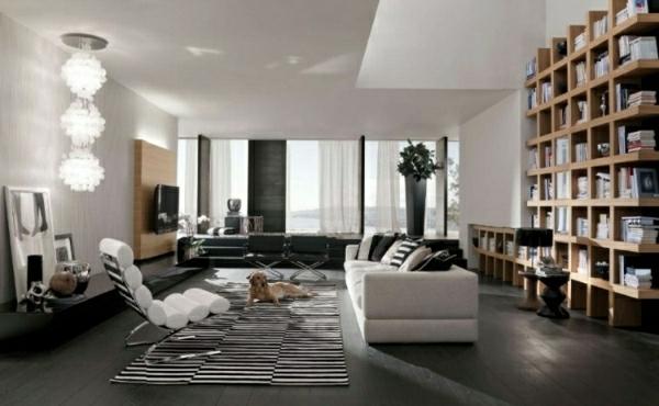 elegantes-wohnzimmer-mit-bücherregalen-aus-massivholz