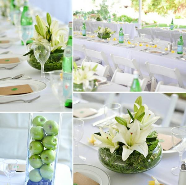 erstaunliche-Tischdekoration-in-Grün-und-Weiß-Apfeldeko