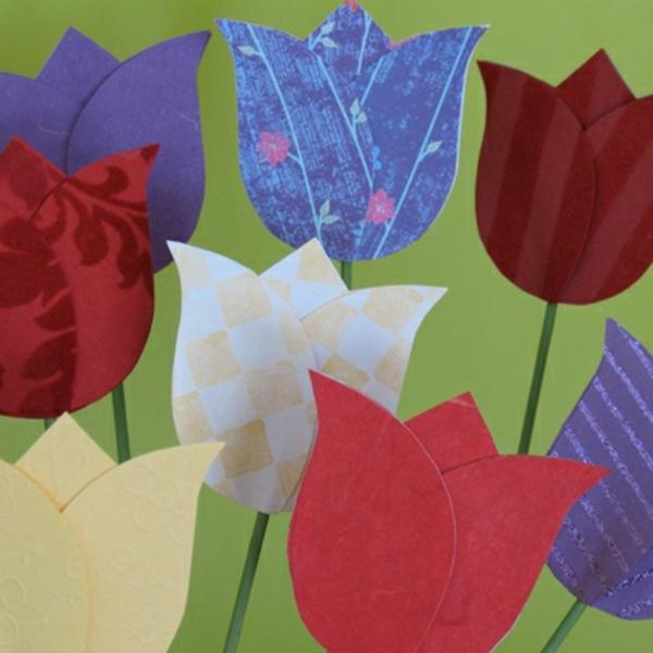 frühlingsblumen-basteln - verschiedene farben