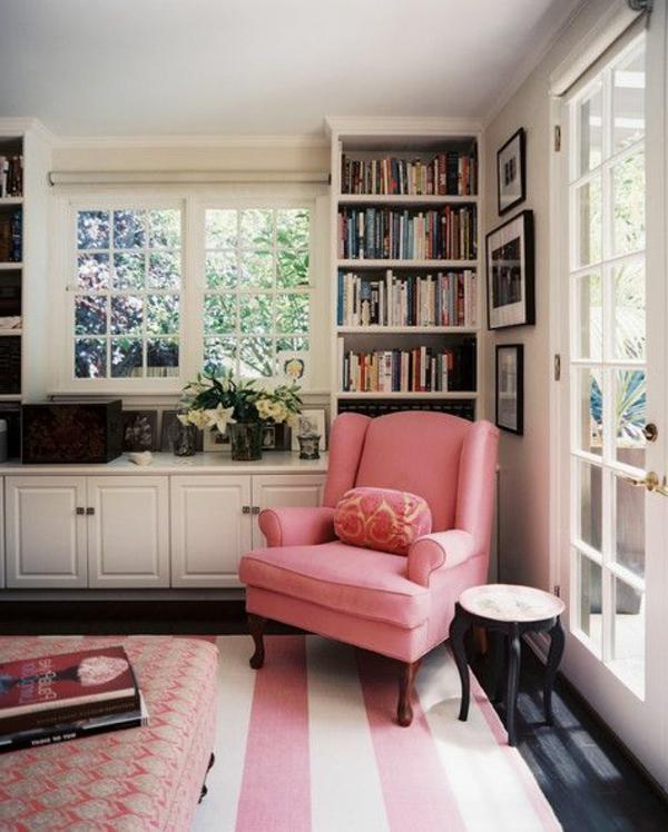 wohnzimmer rosa weiß:Teppich in Rosa – eine schöne Farbe für den Boden!