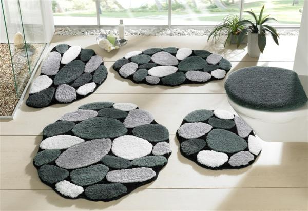 grüne-Badteppiche-für-das-Badezimmer-in-grauer-Farbe