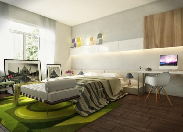grüne-Teppiche-im-Schlafzimmer-Design-Idee