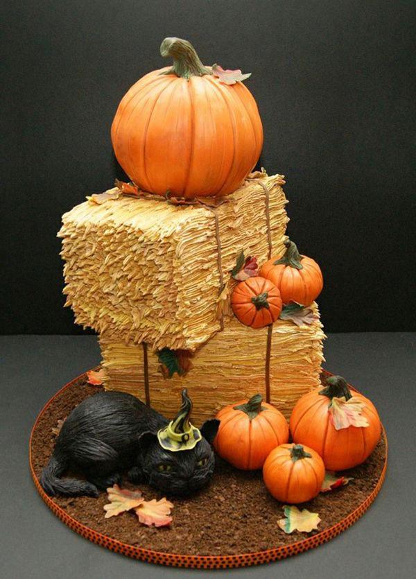 halloween-torten-eine-schwarze-katze-und-kürbis