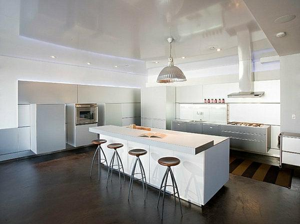 innovative-küchenbar-designs-barhocker-weiß-konstruktion-holz-bodenbelag