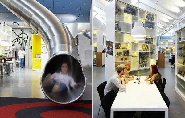 interessante-büroräume-mit-rutschen - zwei fotos