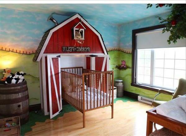 kinderzimmer- komplett-set - originelles bett design - und wände in blau und grün