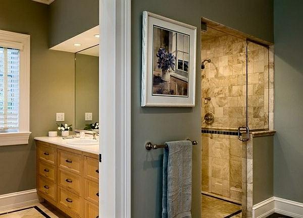 kreatives-modell-von-gefliester-dusche - unterschränke aus holz