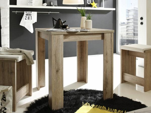 Holz-Tisch-Hocker-Wohnzimmer