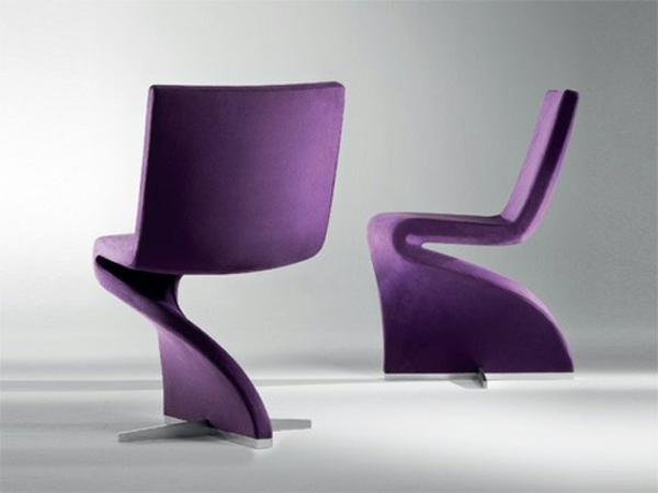 lila-designer-Stühle-originelle-Form-Deign-Idee
