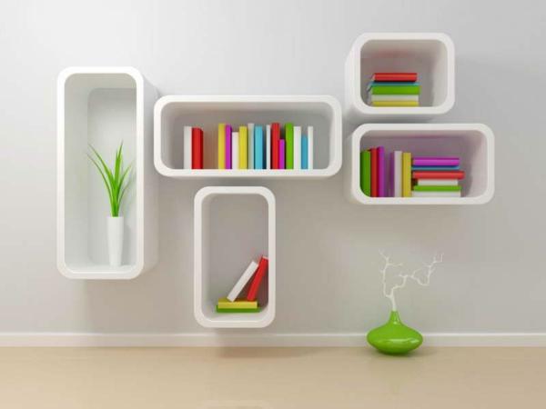 moderne-innovative-Regale-für-Bucher-in-weißer-Farbe