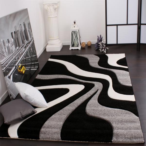 moderner-Teppich-Weiß-und-Schwarz-Wohnzimmergestaltung
