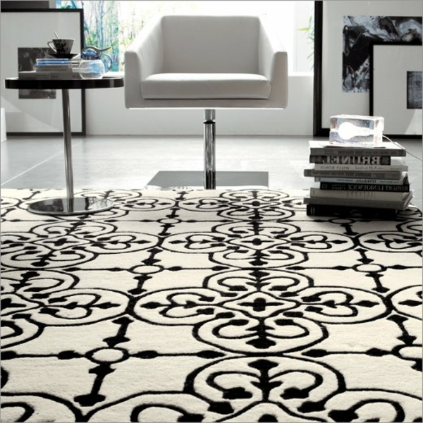moderner--Teppich-Weiß-und-Schwarz-Wohnzimmer