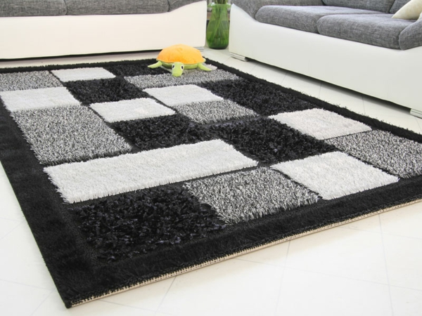 Teppich in schwarz und wei wunderbare ideen - Moderne teppiche bilder ...