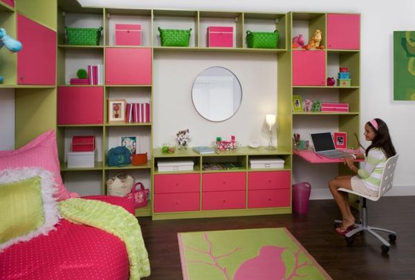 modernes-Kinderzimmer-Möbel-Regale-Rosa
