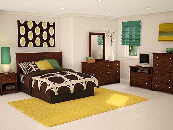 modernes-Schlafzimmer-mit-Teppich-in-Gelb-Idee