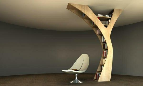 Modernes Einmaliges Bücherregal Design Wie Einen Baum Aussehen