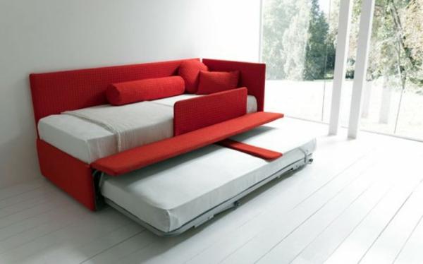modernes sofa bett rot idee - Modernes Tagesbett Mit Ausziehbett