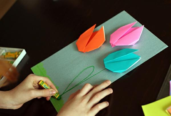origami-tulpe - eine schöne karte basteln