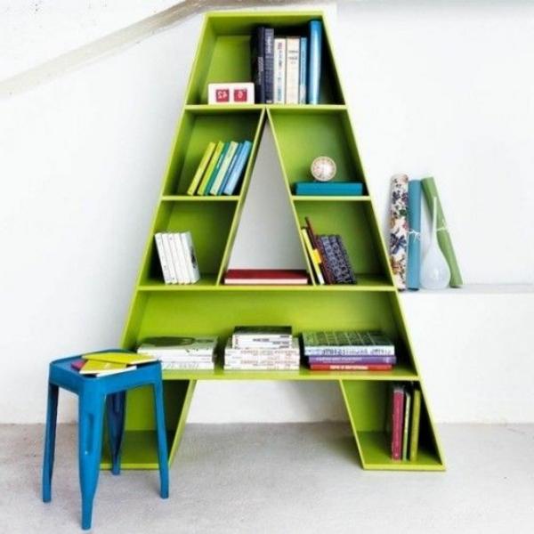 originelles-grünes-Kinder-Bücherregal-Buchstabe-Design